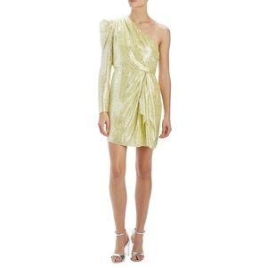 NWT Monique Lhuillier Metallic One Shoulder Dress